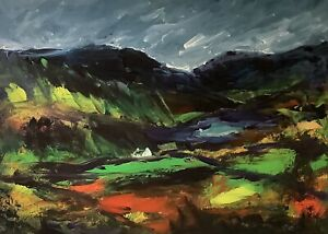 ORIGINAL-PAINTING-Acrylic-On-Canvas-Remote-Cottage-Snowdonia-40x30cm