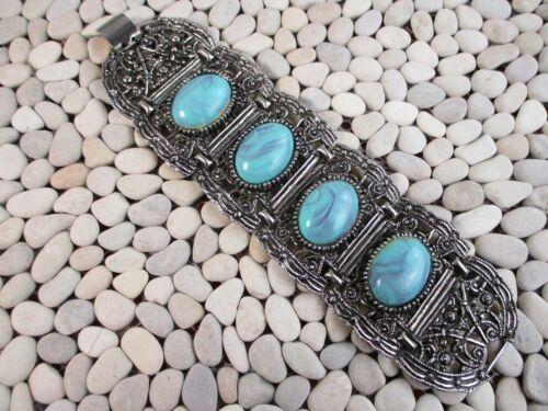 Chunky Tribal Silvertone Fun 70s Costume Jewelry Boho Bling  Ring Vintage Faux Turquoise Boho Ring