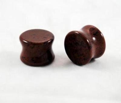 Organic Mahagony Obsidian Double Flared Saddles Ear Plugs Natural Polished Pair