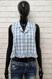 Camicia-Donna-MARELLA-Taglia-38-Maglia-Blusa-Shirt-Woman-Smanicato-Quadri-Corto