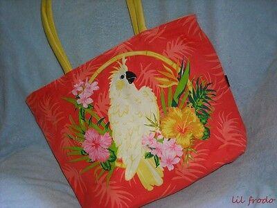 Large Beach Bag Parrot Orange Waterproof Travel Tote Diaper Bag Ladies Purse NWT