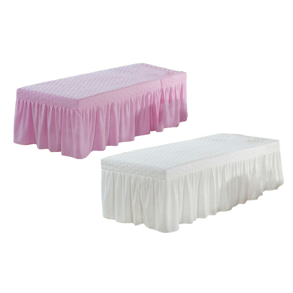 2Pc Spa Massage Table Skirt Beauty Bed Sheet Cover with Face Hole White Pink