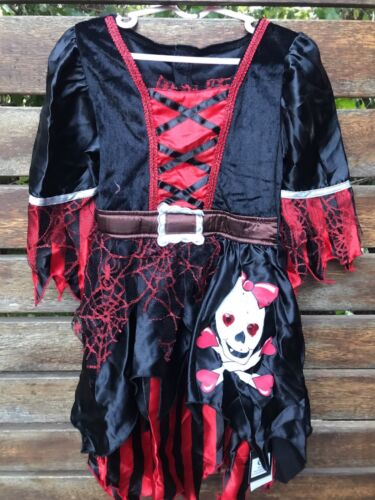 Kid Girl Children Halloween Party Black Skull Pirate Captain Costume Dress C244
