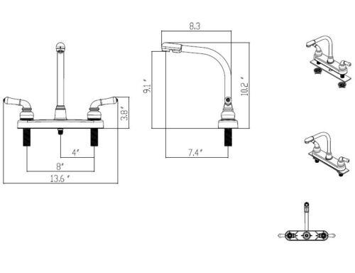 Empire FaucetsRV Kitchen Faucet Head Replacement Hi-Rise Spout and Handles