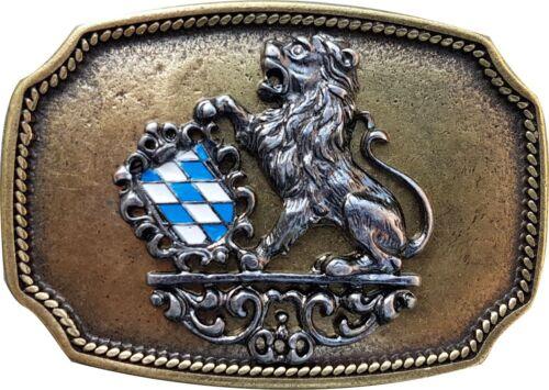 "brass lion buckle FRONHOFER Oktoberfest buckle Bavarian coat of arms 1.5/""//4cm"