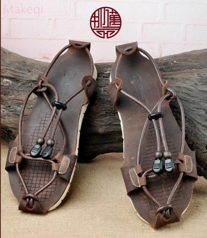 Roman Mens Leather Casual Strap Strap Strap Straw Sandals Summer Beach Vintage Flat Shoes 9faba9