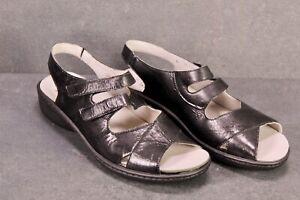 C1373 Goldkrone Damen Sandalen Lack Leder schwarz Gr. 39 (6H) Wechselfußbett