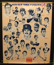 Vintage New York Yankees Poster 1978 World Series Champions Pin-up Burger King