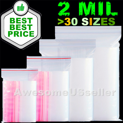"""34 Sizes Available 1000 Reclosable Poly Plastic 2 Mil Ziplock Bags 1 to 4/"""""""