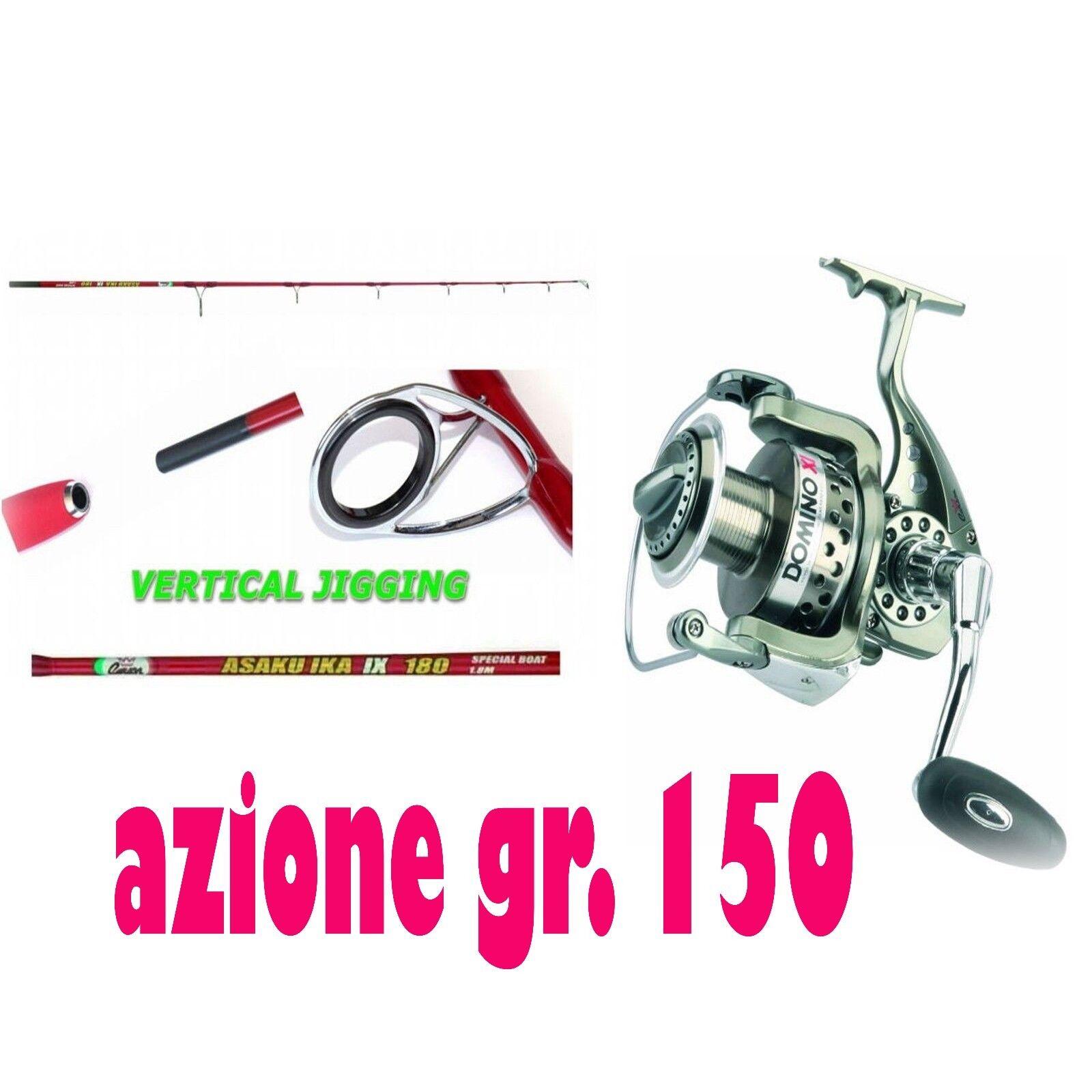 Canna pesca bolentino  carbonio azione grammi 150 con mulinello 5000 carson mare
