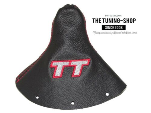 """For Audi TT 1998-2006 Shift Boot Black Leather /""""TT/"""" Grey Embroidery"""