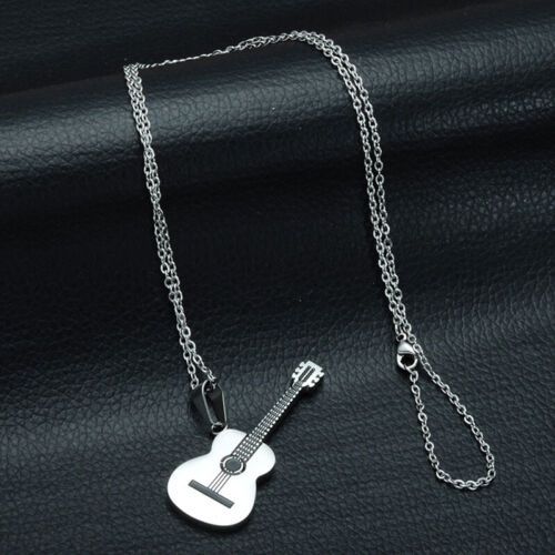 Long Stainless Steel Chain Music Guitar Pendant Necklace Women Men Jewelry GiHK
