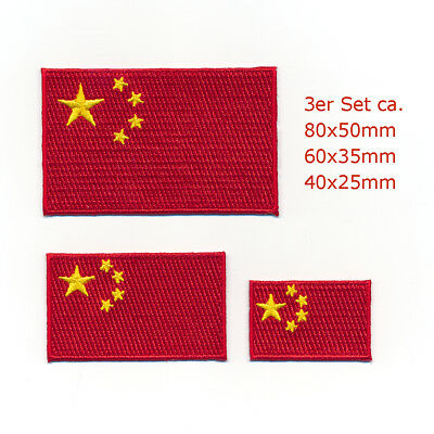 3 China Flaggen Flags Volksrepublik Mao Peking Patch Aufbügler Aufnäher Set 1094