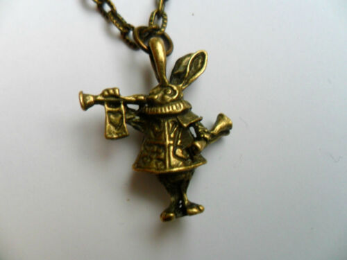 Lovely Alice in Wonderland Rabbit  Bronze Curb Chain Necklace a