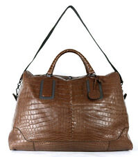 BOTTEGA VENETA Edoardo Brown Soft Crocodile Skin Weekender Duffel Travel Bag