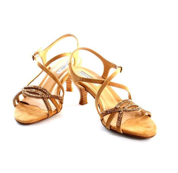 women Piu 50463a Beige Suede Swarovski Crystals Strappy Sandals 37   US 7