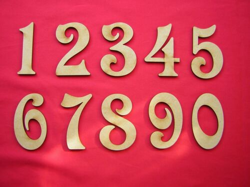LASER CUT 40p each MDF NUMBERS  8cm 80mm 3 inch
