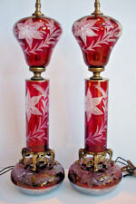 Large Pair of Vintage Cut Glass Table Lamps Ruby Red Color