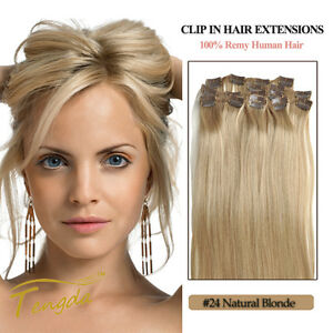 Natural-Blonde-100-Real-Human-Hair-Clip-in-Hair-Extension-14-039-039-22-039-039-70g-80g