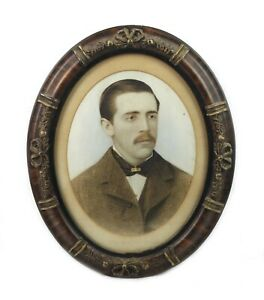 Antique 19th Century Pastel Portrait of Identified Man Ornate Gesso Oval Frame