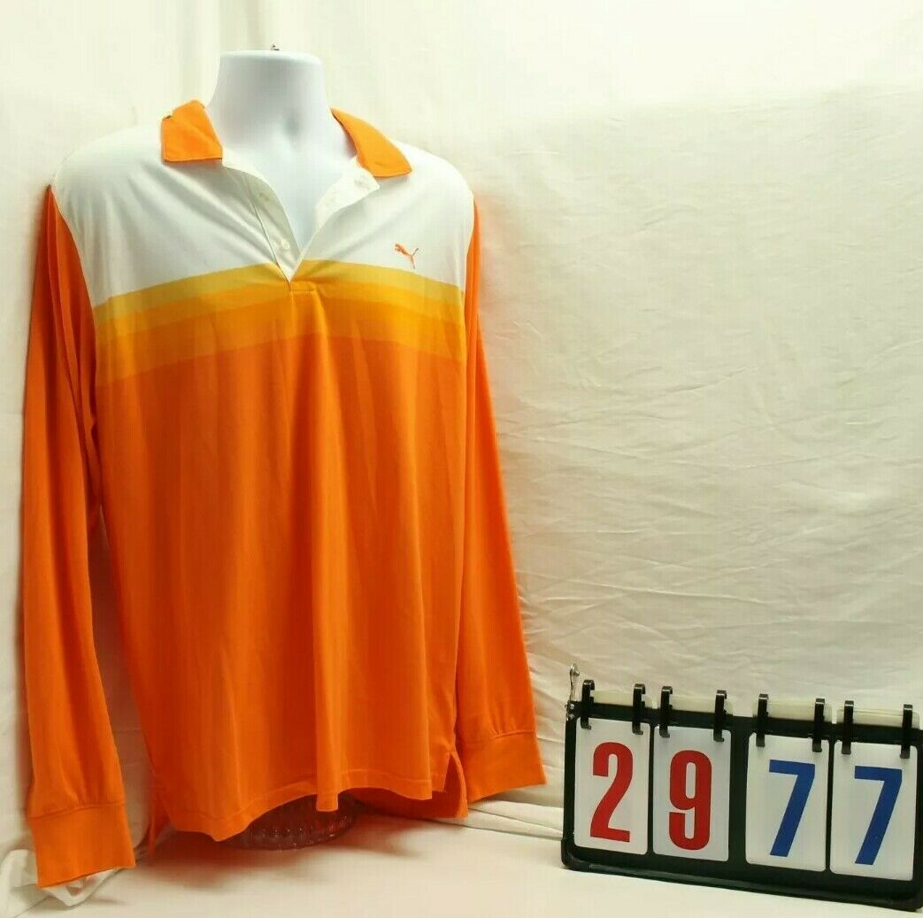 Puma Mens Size XL Extra Large orange Collar Long Sleeve Top Shirt NEW NWT