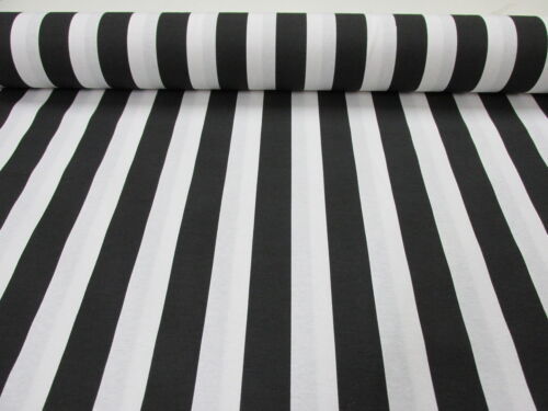 Black White Striped Fabric Sofia Stripes Curtain Upholstery Material -140cm wide