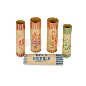 108-Rolls-Preformed-Assorted-Coin-Wrappers-Tubes-Nickels-Quarters-Dimes-Pennies