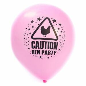 Fancy Hen Girls Chick Night Out Pink Balloon Caution Hen Party Decor Accessories