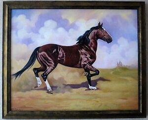Original-Olgemaelde-auf-Leinwand-034-Pferd-034-2010-ein-Unikat-von-E-R-im-Zierrahmen