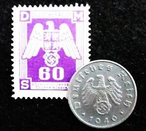 Ww2 Nazi German 5 Reichspfennig And Stamp With Swastika X