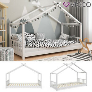 vicco kinderbett hausbett design 90x200cm kinder bett holz haus hausbett ebay. Black Bedroom Furniture Sets. Home Design Ideas