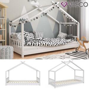 VICCO Kinderbett Hausbett DESIGN 90x200cm Kinder Bett Holz Haus Hausbett