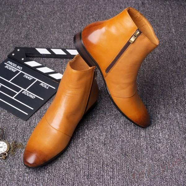 Chelsea para hombre Botas al Tobillo Retro Punk de Vestido Cuero Nuevo Vestido de Formal Zapatos postal británico 0607f2