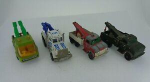 Conjunto-de-4-Vintage-Matchbox-Ford-Pesado-Naufragio-Peterbilt-Remolque-Camion-Toe-Joe