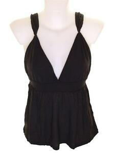 Bnwt Women/'s French Connection Stretch Strappy Cropped Top Vest Black Viscose