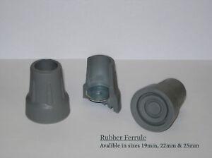 8 x  Walking Stick Pole Ferrules Black Rubber Cane Crutch Bottom End 2 Sizes