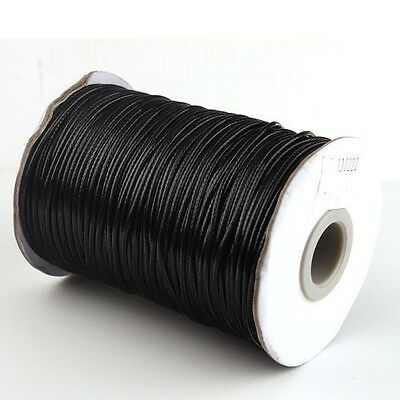 20M Bulk Black Waxed Polyester Thread Necklace Cords 2mm Dia 130222