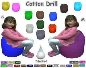 Cotton-Drill-Beanbag-Kids-Bean-Bags-2-Sizes-Interlined-amp-Filled