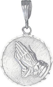 Sterling-Silver-Praying-Hands-Medallion-Pedant-Necklace-with-18-Inch-Rolo-Chain