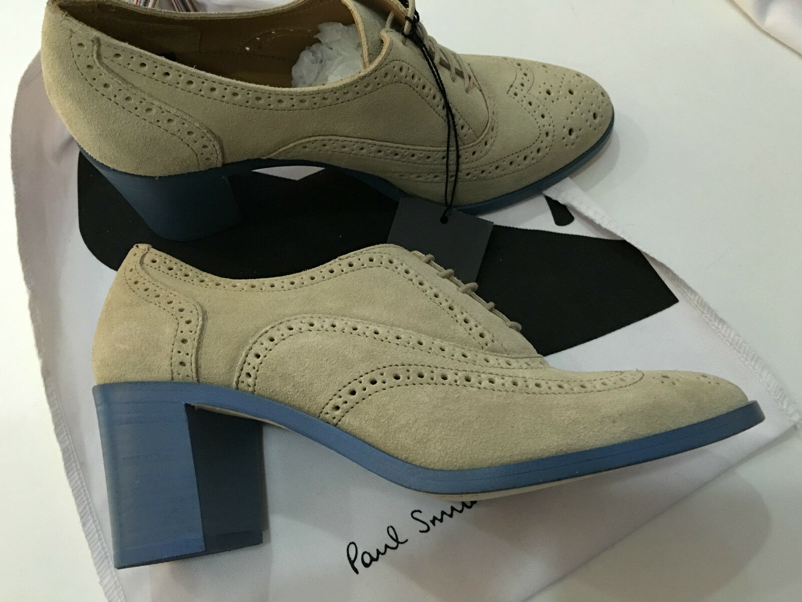 Paul Smith Womens BROGUE shoes with bluee Block Heels UK5 EU38 Made in