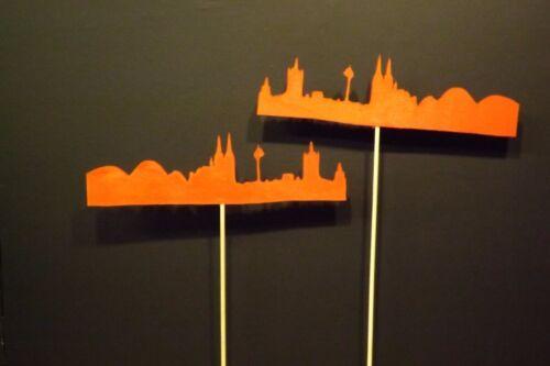 Blumenstecker Köln SKYLINE rot  21 cm x 16 cm x 4 mm Holzart Stab 28 cm