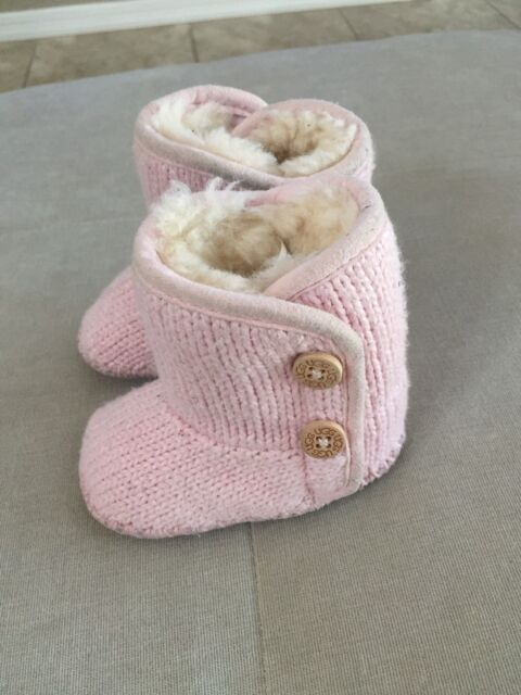 370227e5f0f UGG Australia Baby First Booties Pink Wool Size 0-1 S/n 1005197i Warm