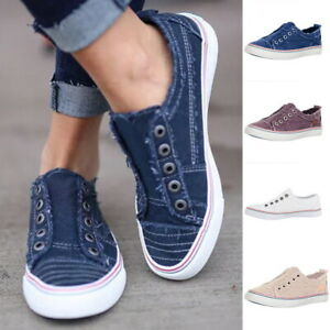 Womens-Ladies-Canvas-Slip-On-Flat-Trainers-Loafers-Casual-Plimsolls-Pumps-Shoes