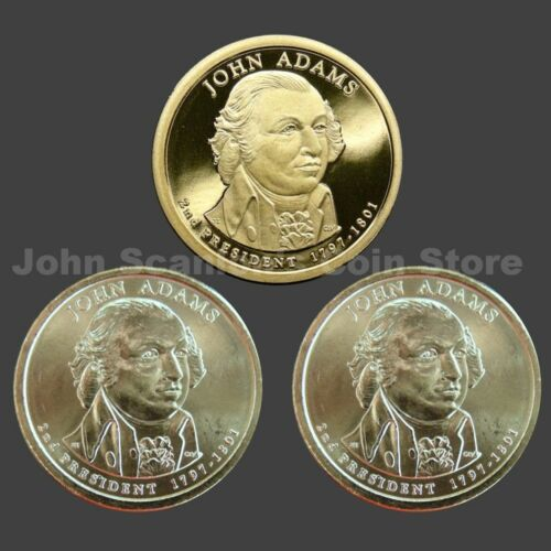 Trio of 2007 Adams Presidential Dollars P/&D BU and S-Mint Proof 3 Coins