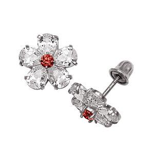 b6e21be89023b Baby Girl's Garnet & Created Diamond Flower Shape Stud Earrings 14K ...