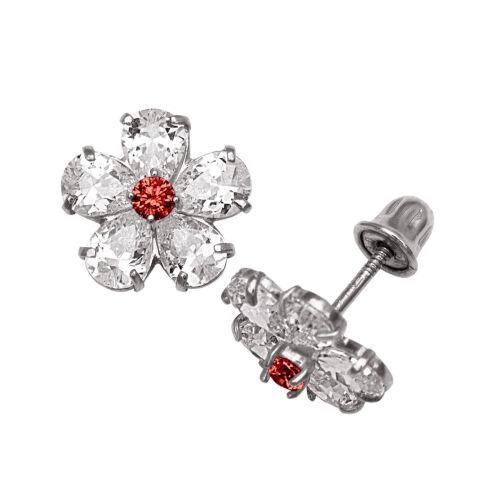 Baby Girl/'s Garnet /& Created Diamond Flower Shape Stud Earrings 14K White Gold