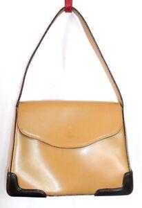 officiel de vente chaude styles de mode prix favorable Détails sur KESSLORD sac à main cuir beige coins renforcés plastique noir  TBE