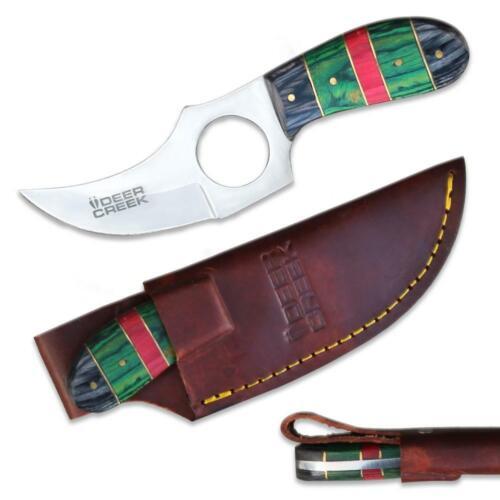 "Hunting Knife6/"" Overall Cat Skinner Red//Black//Green Wood Handle Full Tang"