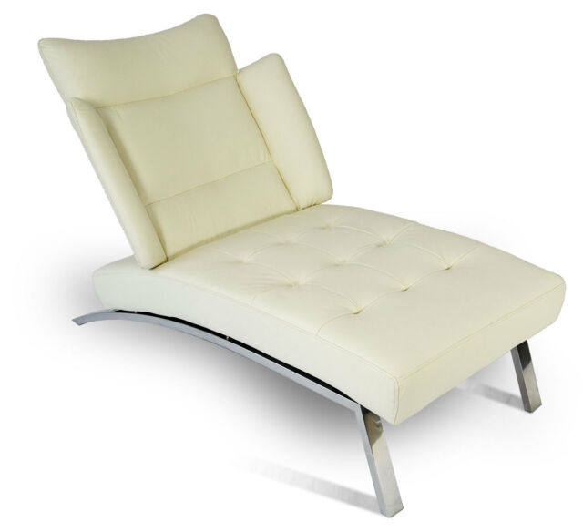 Modern Bauhaus Chaiselongue Daybed With Polished Steel Frame Real Leather Creme