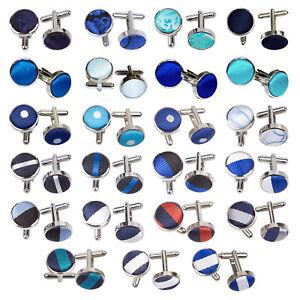 DQT-Blue-Mens-Cufflinks-Solid-Plain-Patterned-Floral-Spotted-FREE-Pocket-Square